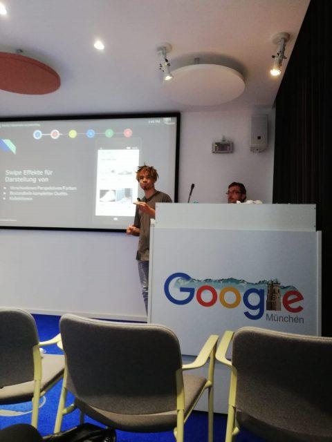Marc Mulolo bei einem Vortrag bei Google München
